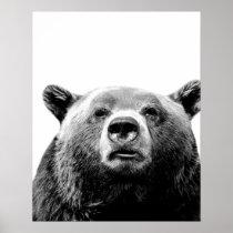 Black and white bear woodland animal photo nursery poster
