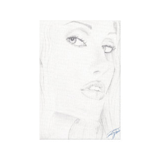 Black and White Beautiul Woman Drawing Canvas Print