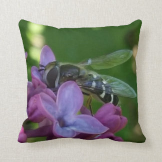 Black and White Bee Landng on Lilacs Throw Pillows