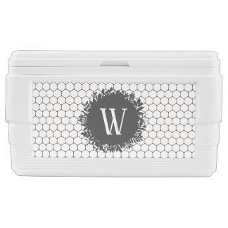 Black and White Beehive Pattern with Monogram Chest Cooler