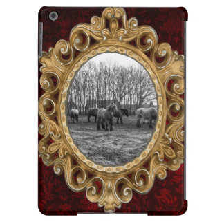 Black and White Belgian Horses In A Pasture Cover For iPad Air