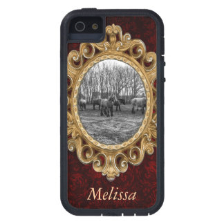 Black and White Belgian Horses In A Pasture iPhone 5 Cover