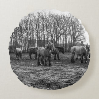 Black and White Belgian Horses In A Pasture Round Pillow