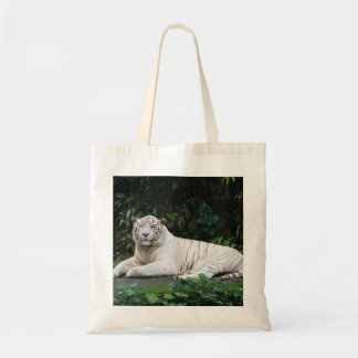 Black and White Bengal Tiger relaxed and smiling Canvas Bags