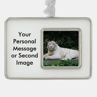Black and White Bengal Tiger relaxed and smiling Christmas Ornament