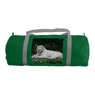 Black and White Bengal Tiger relaxed and smiling Duffle Bag