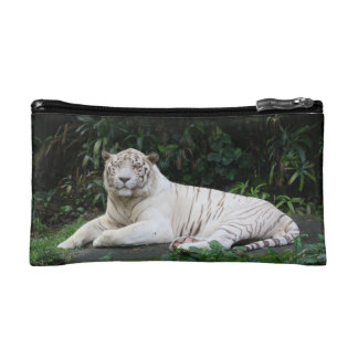 Black and White Bengal Tiger relaxed and smiling Makeup Bag