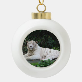 Black and White Bengal Tiger relaxed and smiling Ornaments