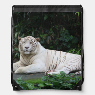 Black and White Bengal Tiger relaxed and smiling Drawstring Bags