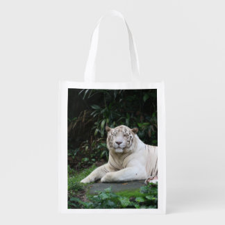 Black and White Bengal Tiger relaxed and smiling Reusable Grocery Bag