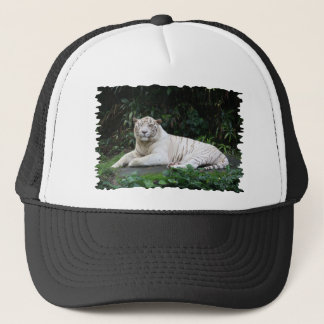 Black and White Bengal Tiger relaxed and smiling Trucker Hat