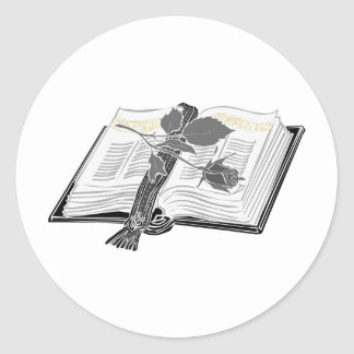 Black and White Bible with Rose Accent Classic Round Sticker