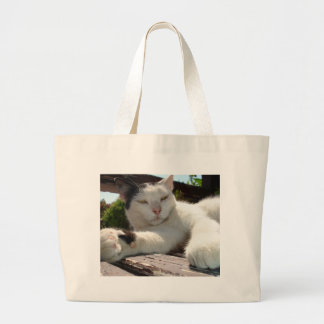 Black and White Bicolor Cat Lounging on A Park Ben Tote Bags