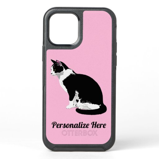 Black and White Bicolor Tuxedo Cat Personalized OtterBox Symmetry iPhone 12 Case