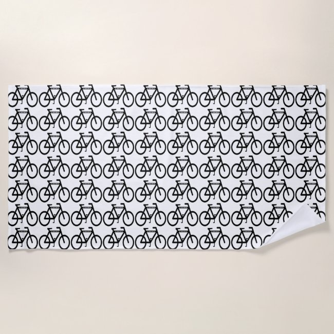 Black and White Bicycle Abstract Beach Towel