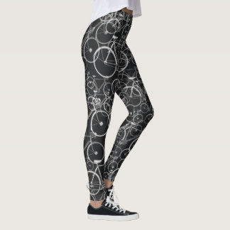 black and white bicycles pattern leggings