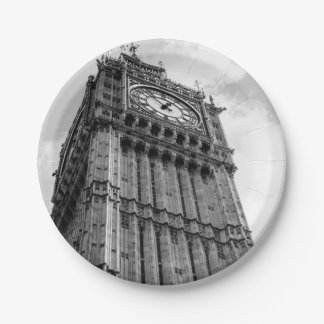 Black and White Big Ben Photograph, London Paper Plate