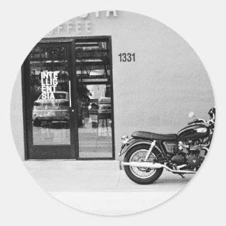 black and white big motorbike classic round sticker