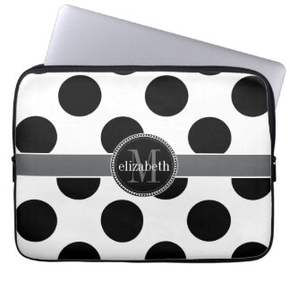 Black and White Big Polka Dots Monogram Laptop Sleeve