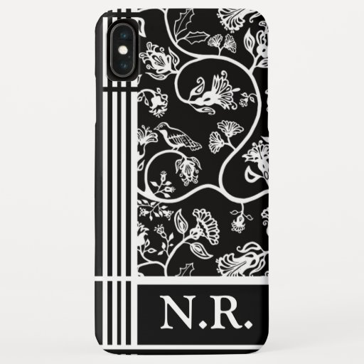 Black and White Bird and Flowers Personalised iPhone XS Max Case