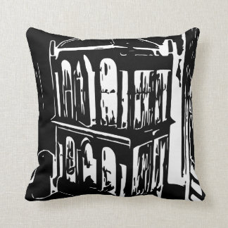 Black and White Bird Cage Pillow