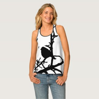 Black and White Bird in Tree Animal Tank Top