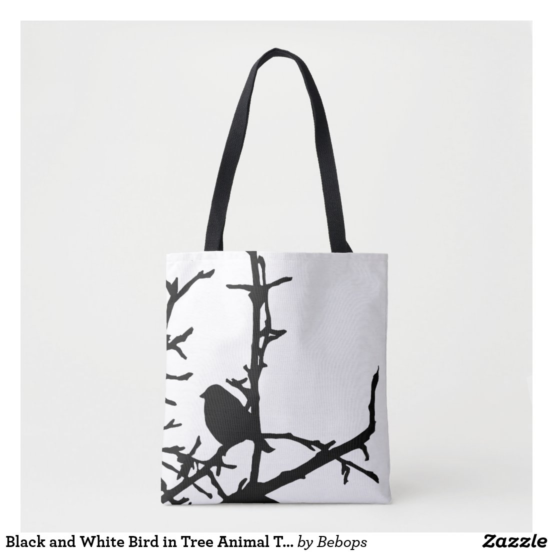 Black and White Bird in Tree Animal Tote Bag