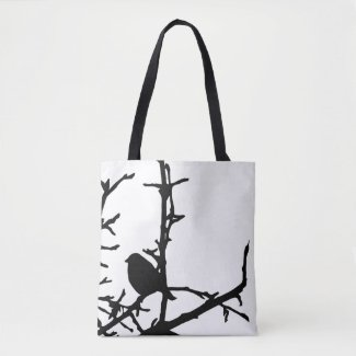 Black and White Bird in Tree Animal Tote 4Bag