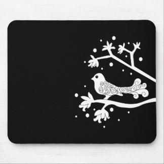 Black and White Bird on a Branch Mousepads