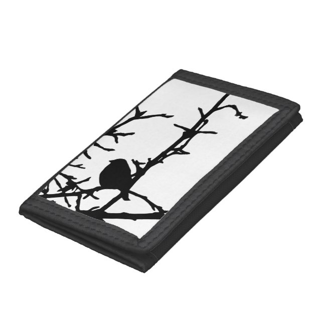 Black and White Bird on a Branch Wallet