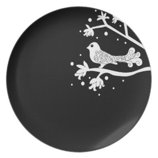 Black and White Bird on a Branch with swirls plate