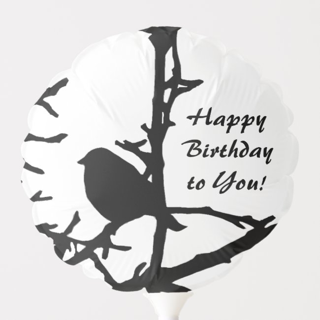 Black and White Bird on Tree Birthday Balloon