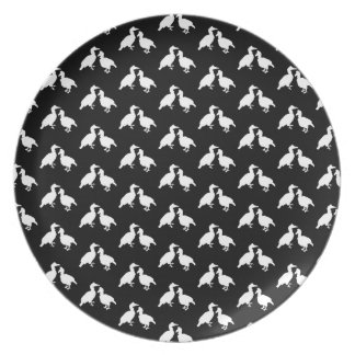 Black and White Bird Pattern. Plate