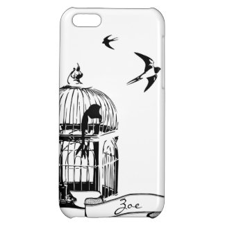 Black and White Birdcage Sparrow iPhone Case