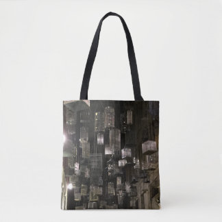Black and white birdcages tote bag