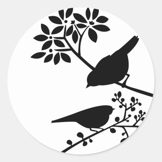 Black and White Birds Classic Round Sticker