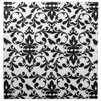 black and white birds intricate damask pattern cloth napkin
