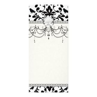 black and white birds intricate damask pattern rack card