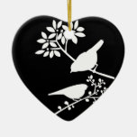 Black and White Birds Double-Sided Heart Ceramic Christmas Ornament