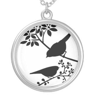 Black and White Birds Round Pendant Necklace