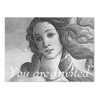 "Black and White - Birh of Venus, Goddess 4.5"" X 6.25"" Invitation Card"