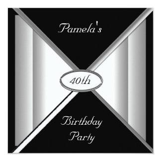 Black and White Birthday Party Invitation