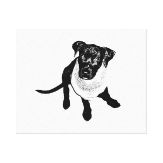 Black and White Black Lab Puppy image Gallery Wrapped Canvas