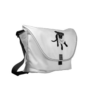 Black and White Black Lab Puppy image Courier Bag