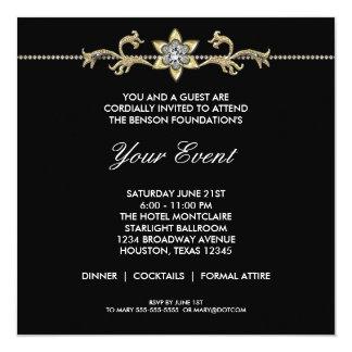 Black and White Black Tie Corporate Party 5.25x5.25 Square Paper Invitation Card