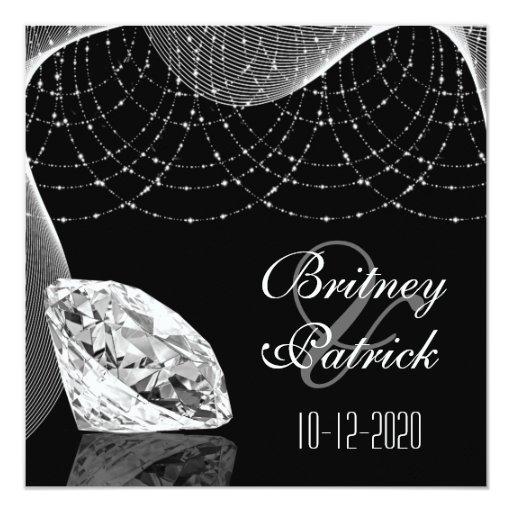 Black and white bling diamond wedding invitations zazzle for Black and white bling wedding invitations