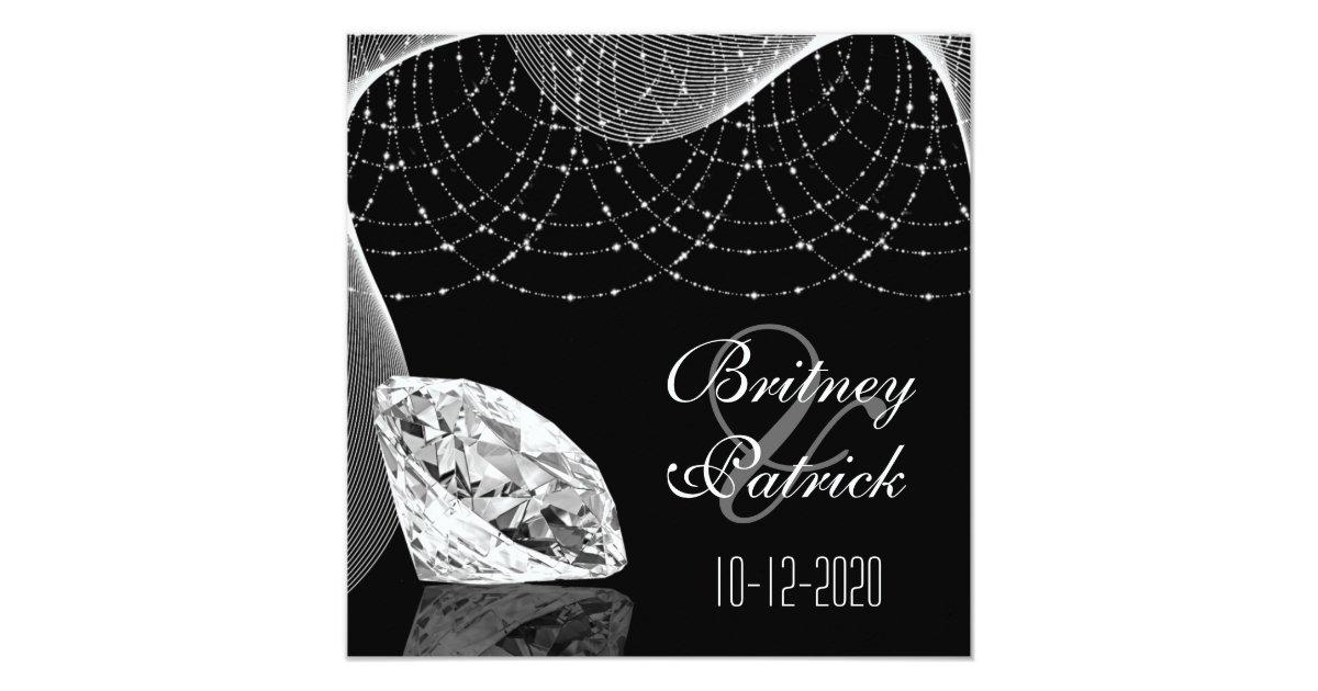 Black And White Bling Diamond Wedding Invitations Zazzle Com