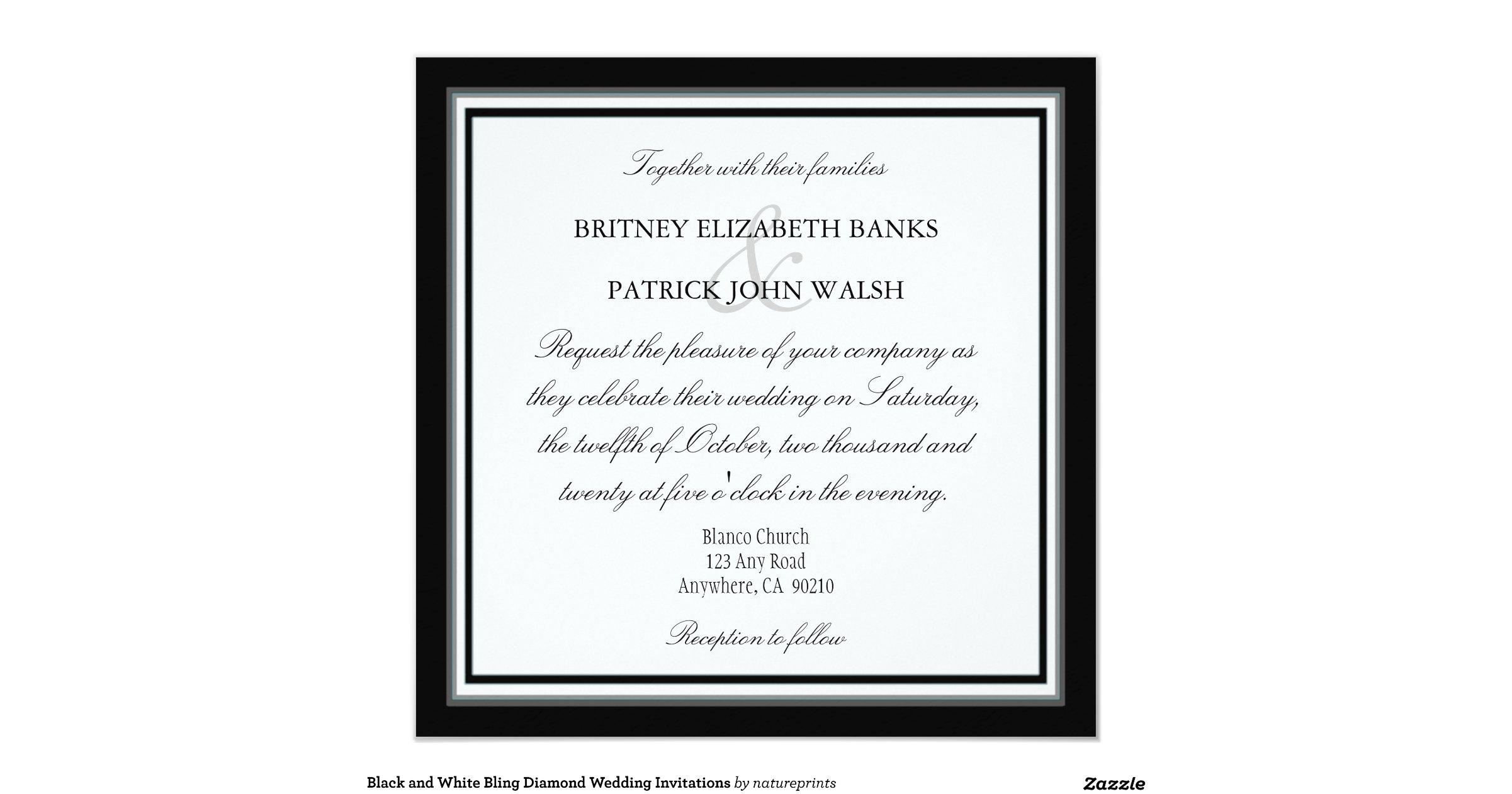 Black and white bling diamond wedding invitations for Black and white bling wedding invitations