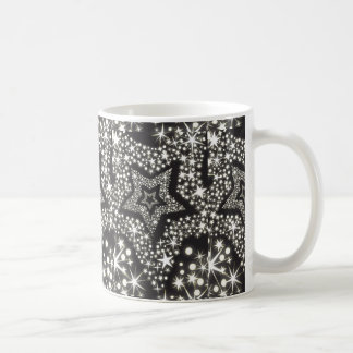 Black and White Bling Stars Print Coffee Cup Coffee Mugs