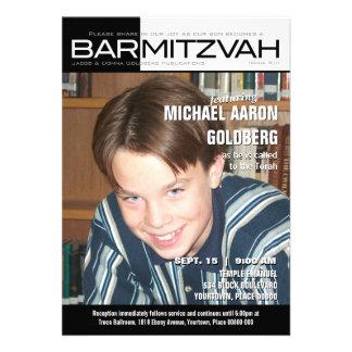 Black and White Block Bar Mitzvah Magazine Invitations